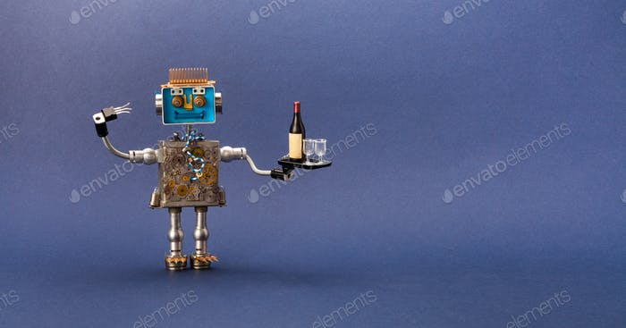 Toy robot waiter bartender holding a tray with an order wine bottle and glasses.