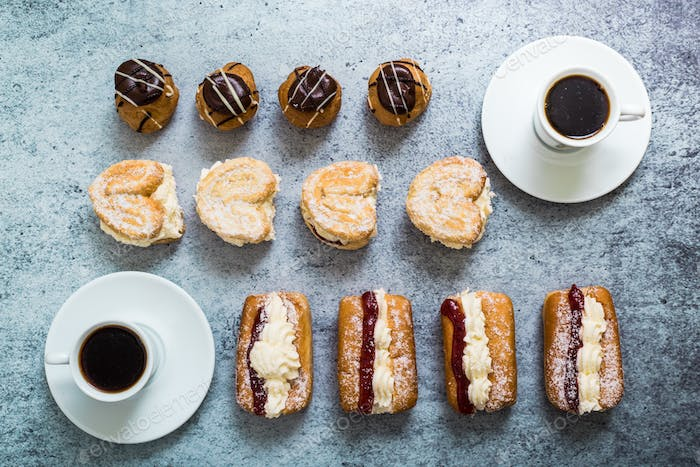 sweet patisserie cakes and coffee
