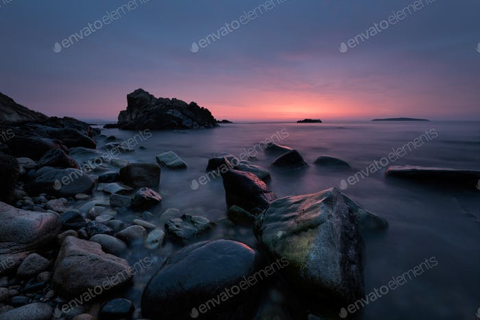 Before sunrise. Magnificent sunrise view in the blue hour at the Black sea coast, Bulgaria.