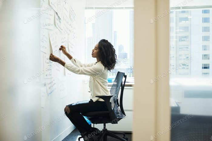 A woman sitting on a chair in an office arranging pieces of paper pinned on a whiteboard.