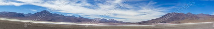 Mountains and salt pan in Eduardo Avaroa Reserve, Bolivia