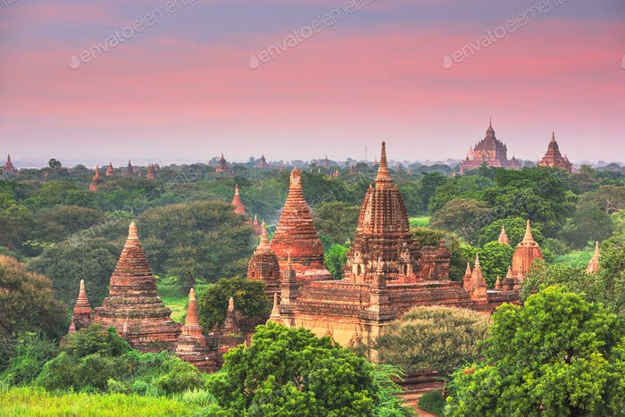 Bagan, Myanmar ancient temple ruins landscape in the archaeologi