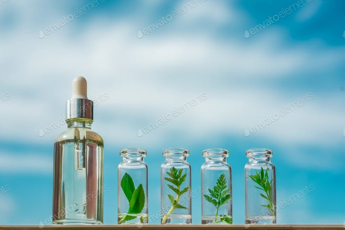 Homeopathic oil, serum and bottles with plants on a blue background