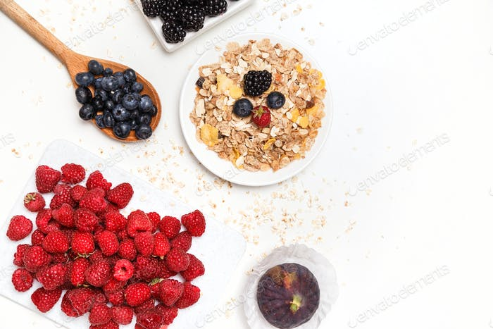 Healthy breakfast. Food cereal concept with fresh fruits isolated on white