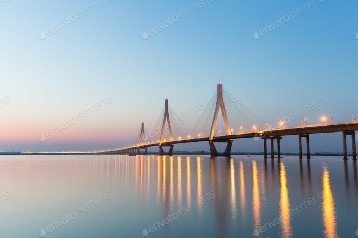 three towers of cable-stayed bridge