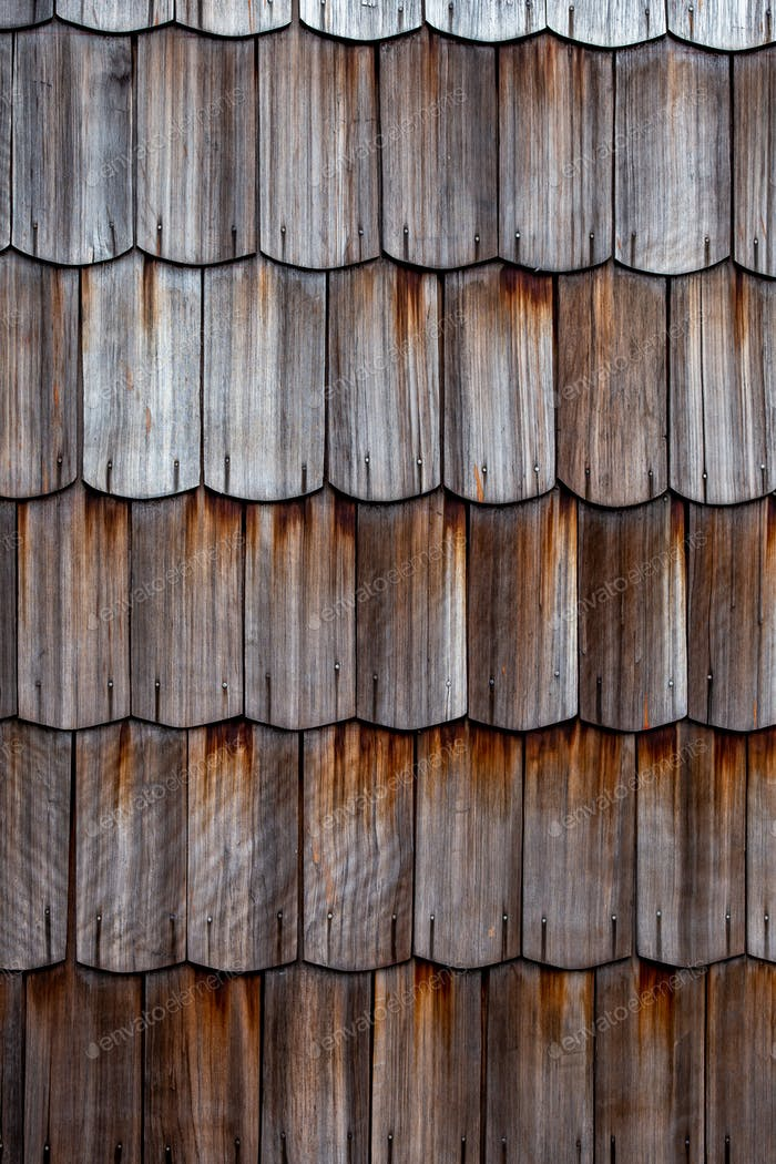 Beautiful wood shingles of traditional houses on Chiloe Island in Chile