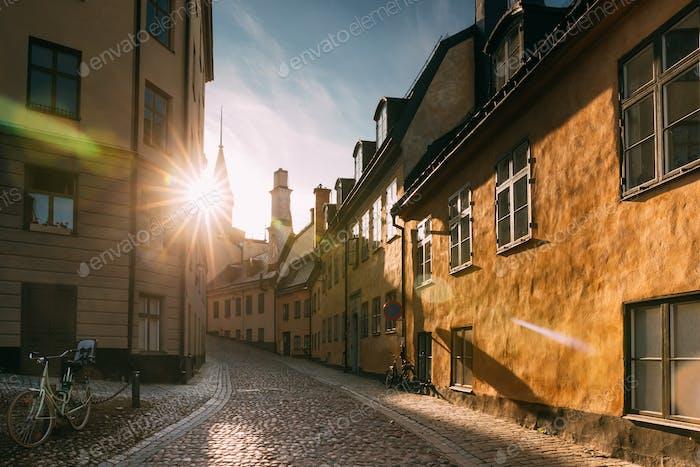 Stockholm, Sweden. Sunshine During Sunset Above Traditional Stoc