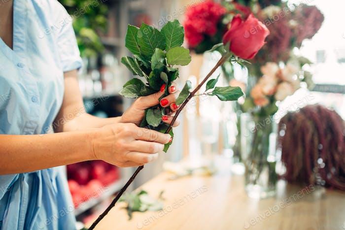 Weibliche Blumenhändler hält frische rote Rosen Blumenladen
