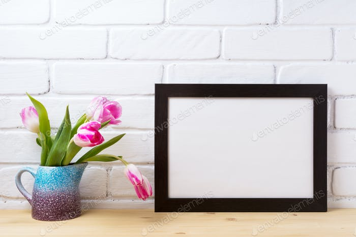 Black brown  landscape frame mockup with pink tulip in purple bl