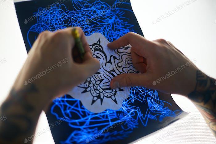 Making tattoo sketch