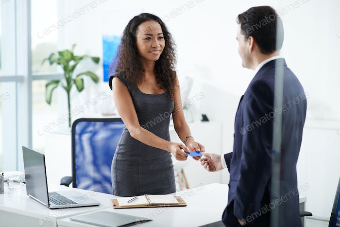 Giving business card
