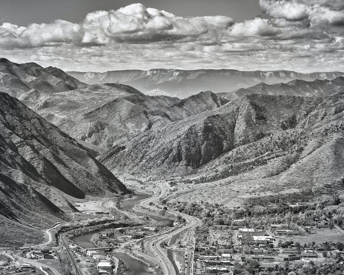 Black and white aerial picture of Glenwood Springs in Colorado.
