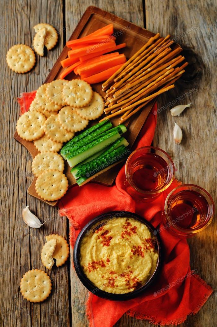 Pumpkin chickpeas hummus with paprika