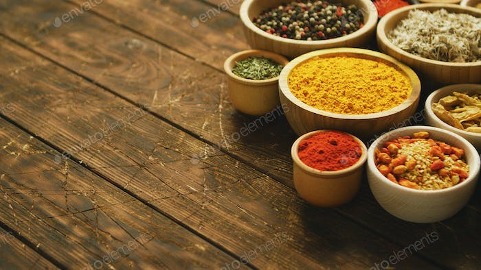 Arrangement of spices in small bowls
