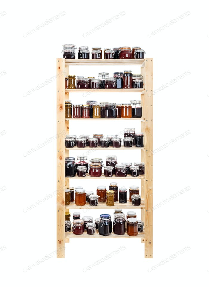 Shelves of homemade jam