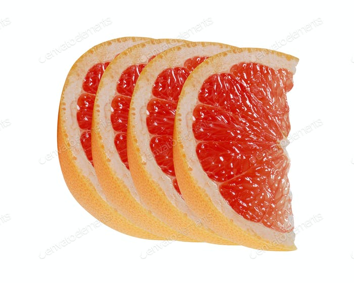 Slice of grapefruit citrus fruit isolated on white