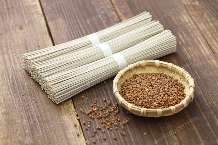 Japanese dried soba buckwheat noodles and seeds