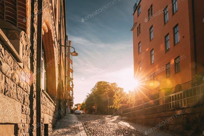 Stockholm, Sweden. Sunshine During Sunset Above Stockholm Street