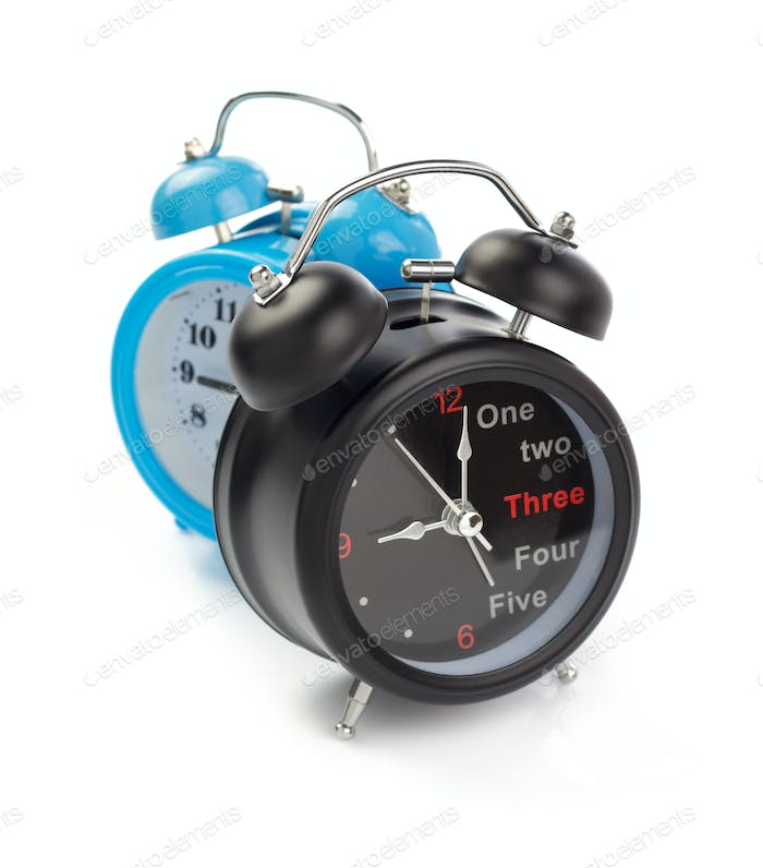 alarm watch clock on white background