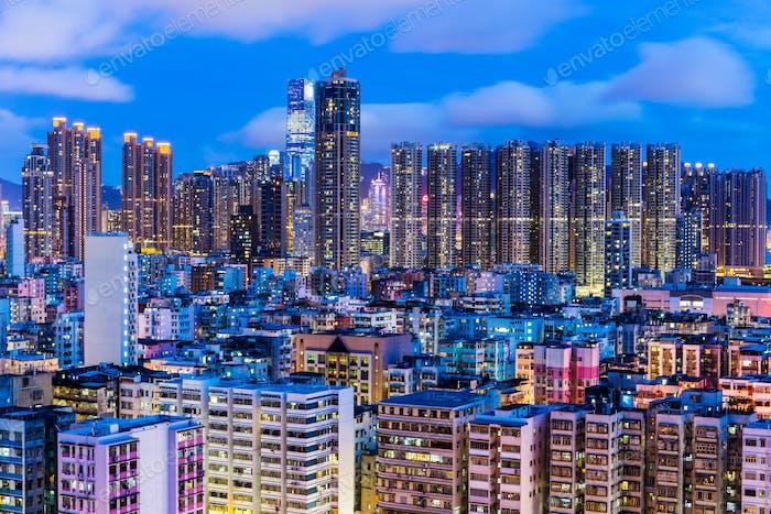 Urban city in Hong Kong at night