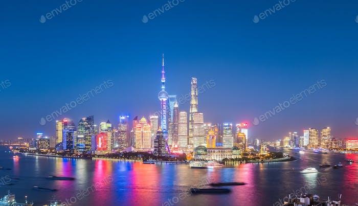 charming nightfall in shanghai