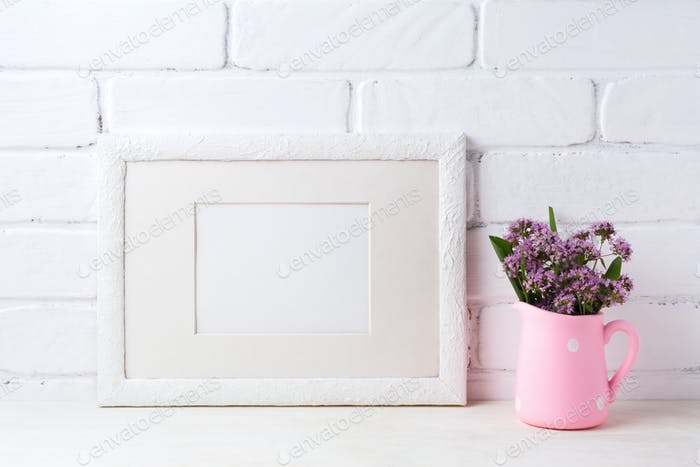 White landscape frame mockup with purple flowers in pink rustic