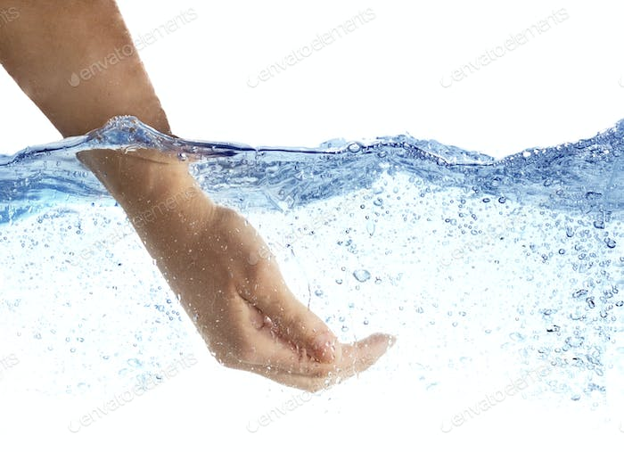 Woman's hand taking the water.