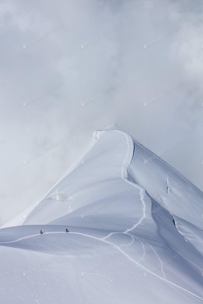 Bergsteiger auf dem Mont-Blanc-Massiv, Frankreich