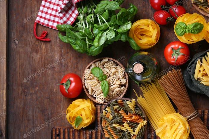 Stillleben italienisches Essen