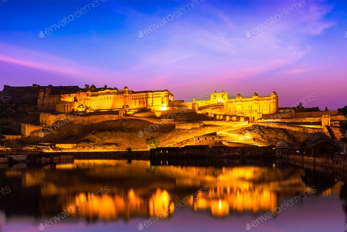 Amer Fort at night in twilight. Jaipur, Rajastan