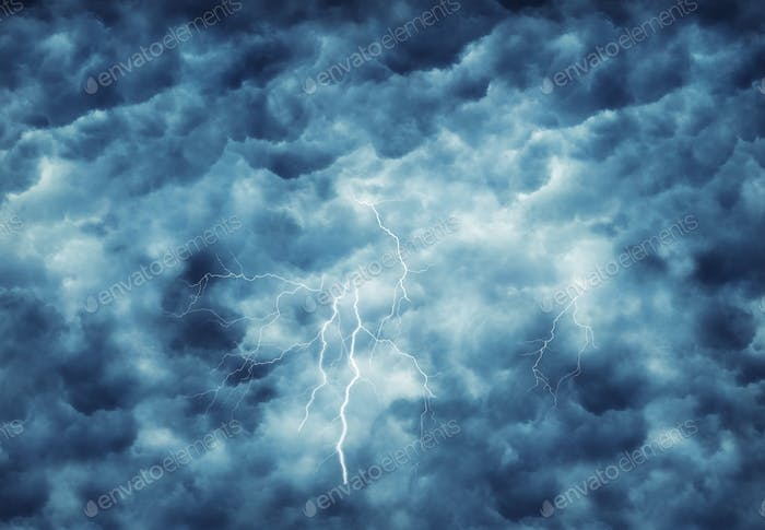 lightning in dark cloudy sky