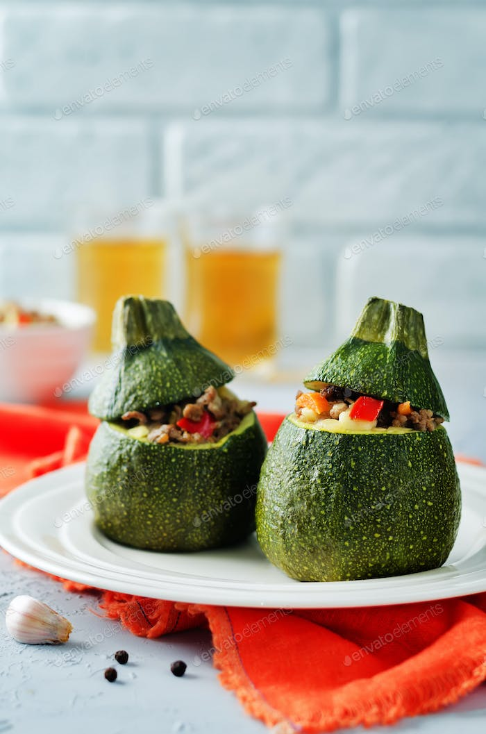 Minced meat vegetables stuffed Zucchini