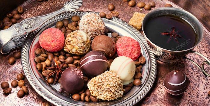 Chocolate candy, chocolate truffle