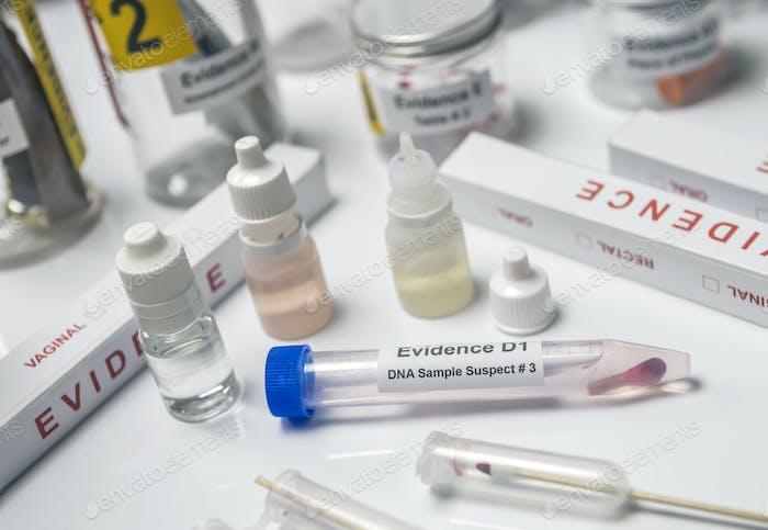 Detail der DNA-Probenahmebox in Laboratorio forensische Ausrüstung, konzeptionelles Bild