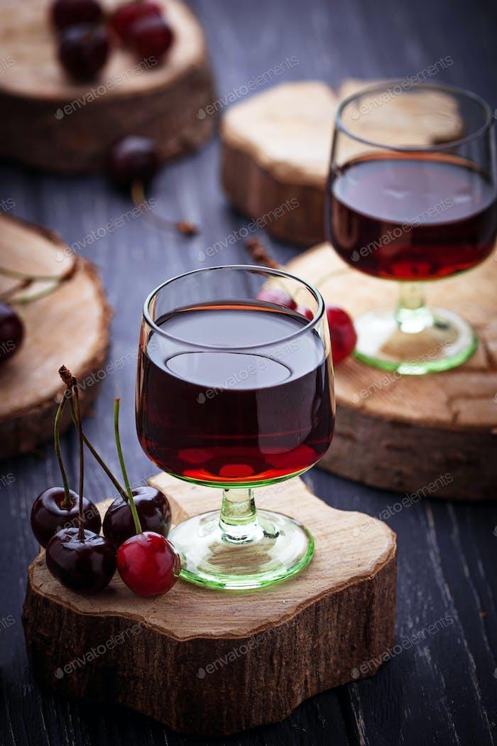 Glasses of cherry liquor