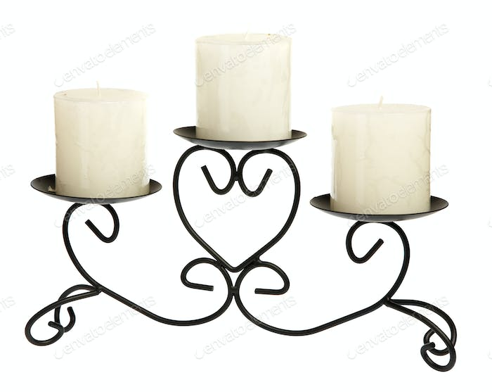 Candlestick with candles on a white background