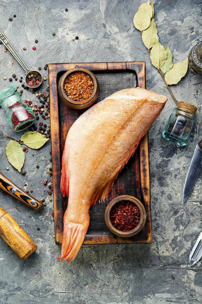 Fresh raw sea bass