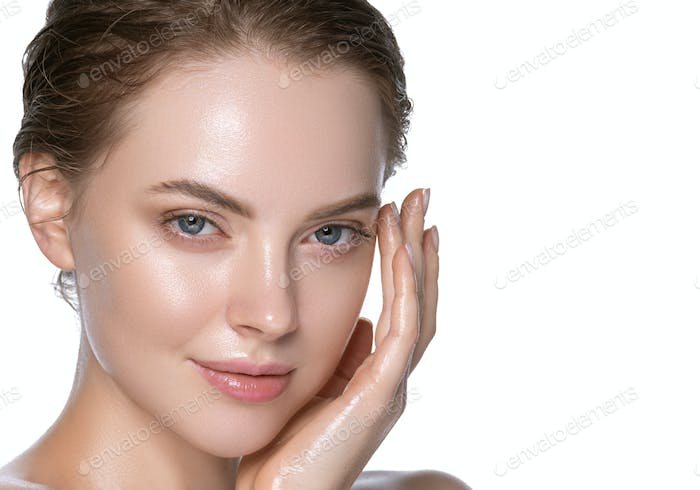 Sexy girl healthy hydration clean skin face beautiful model neck shoulders. Isolated white.