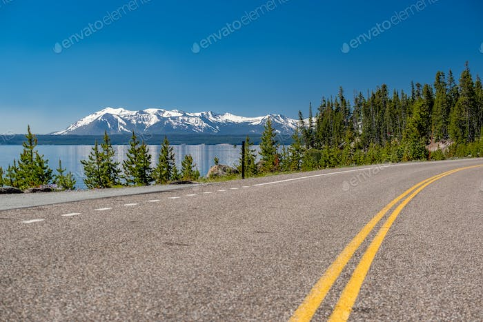Highway by the lake in Yellowstone