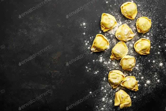Raw italian ravioli on dark background