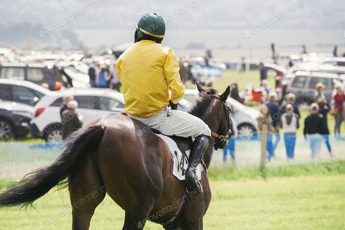 Rear view of a jockey in a yellow vest riding a race horse.