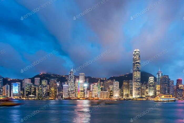 Hong Kong, China Cityscape on the Harbor