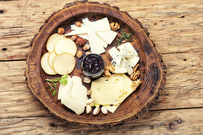 Cheese platter on plate