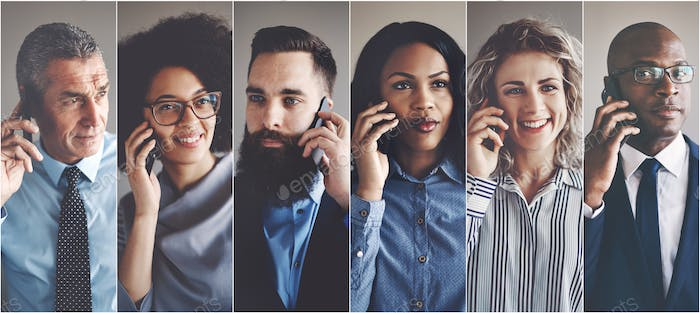 Diverse group of businesspeople having conversations on cellphones
