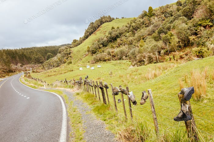 NZ Road Landscape with Tramping Boots