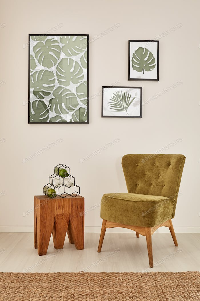 Room with monstera wall decor