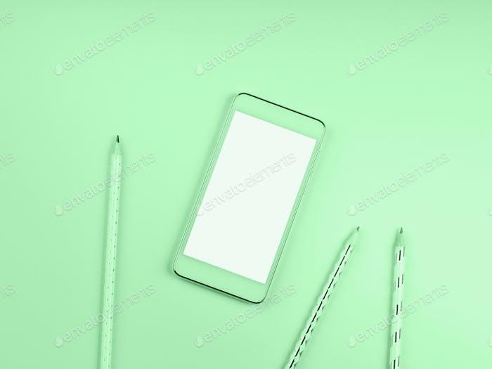 Handy-Bildschirm auf grünem Minze-Hintergrund
