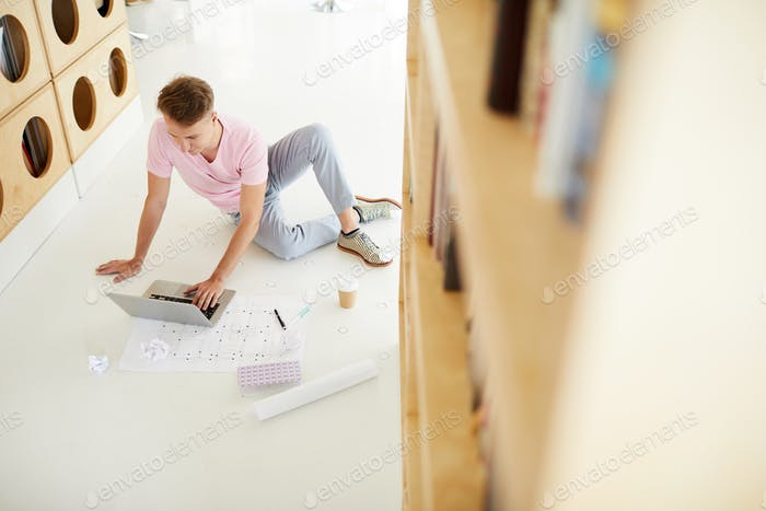 Architecture student in library