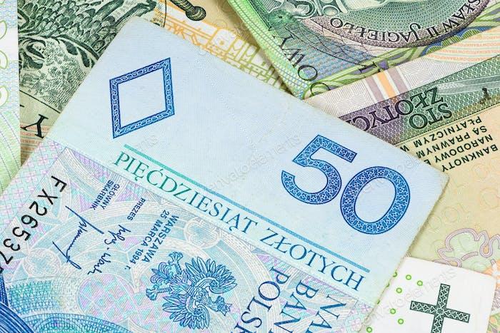 Closeup of 50 pln banknote