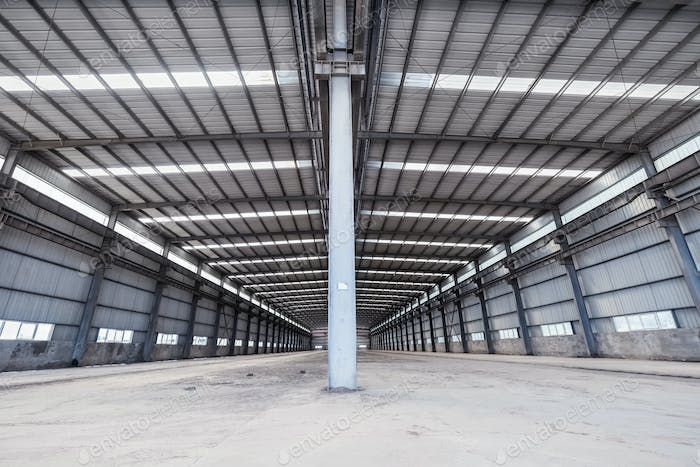 empty steel structure warehouse